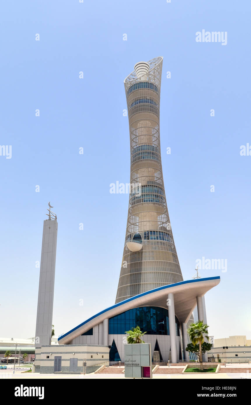 Le Flambeau (Doha) Aspire Tower, la plus haute structure au Qatar Photo Stock
