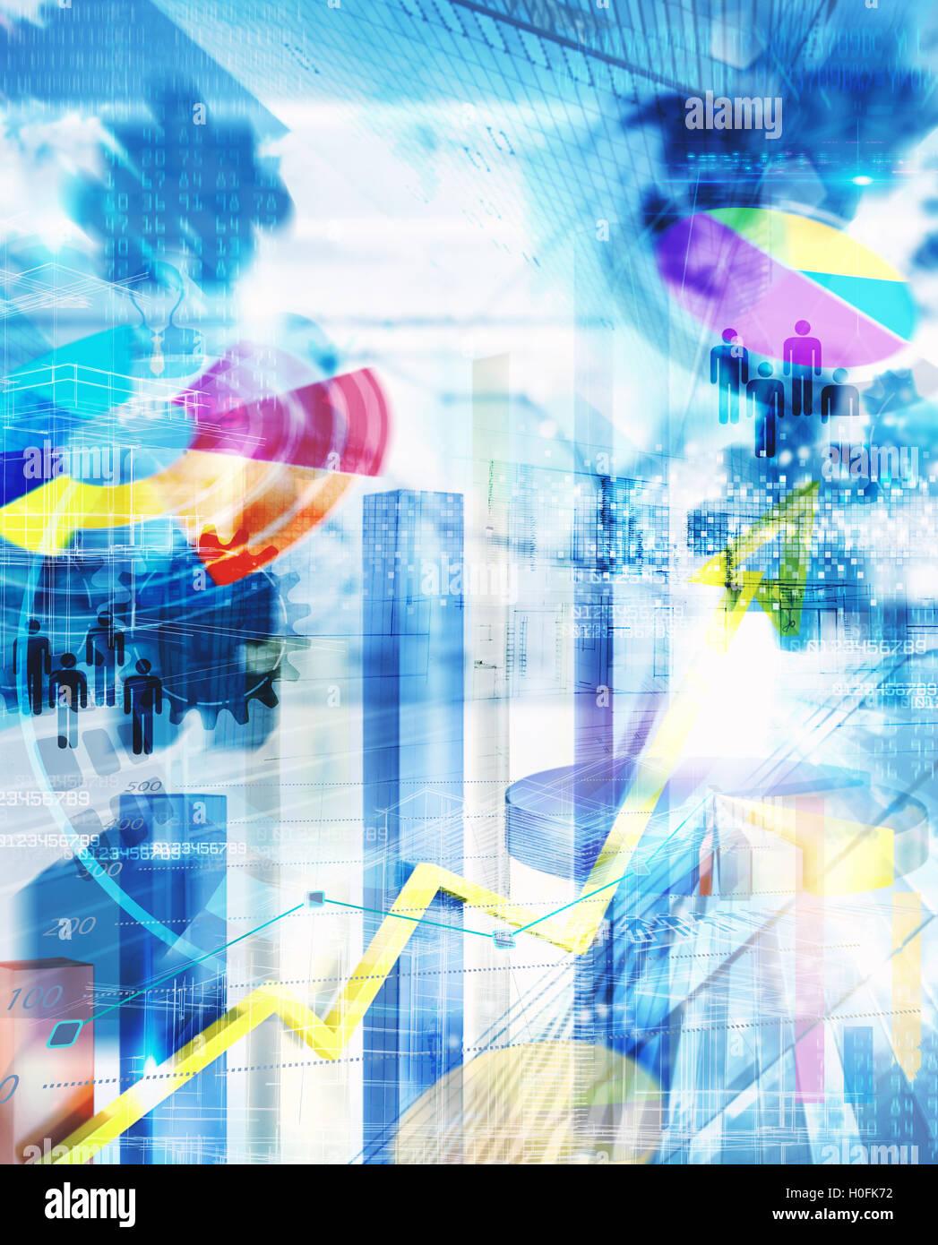 Arrière-plan de l'analyse du marché d'affaires Photo Stock