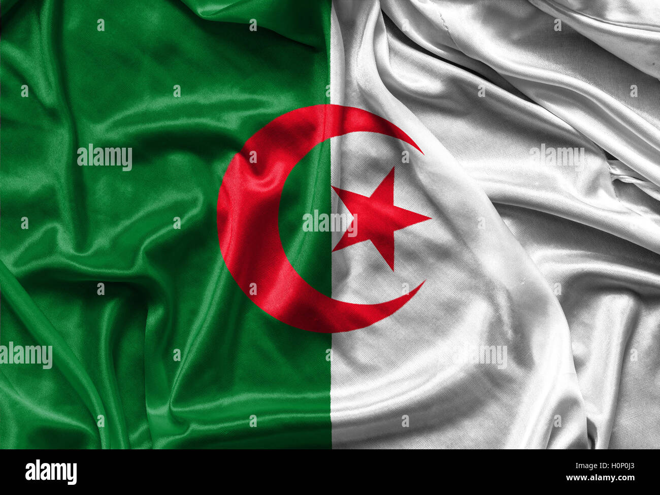 Gros Plan Du Drapeau Algérien Soyeux Banque Dimages Photo