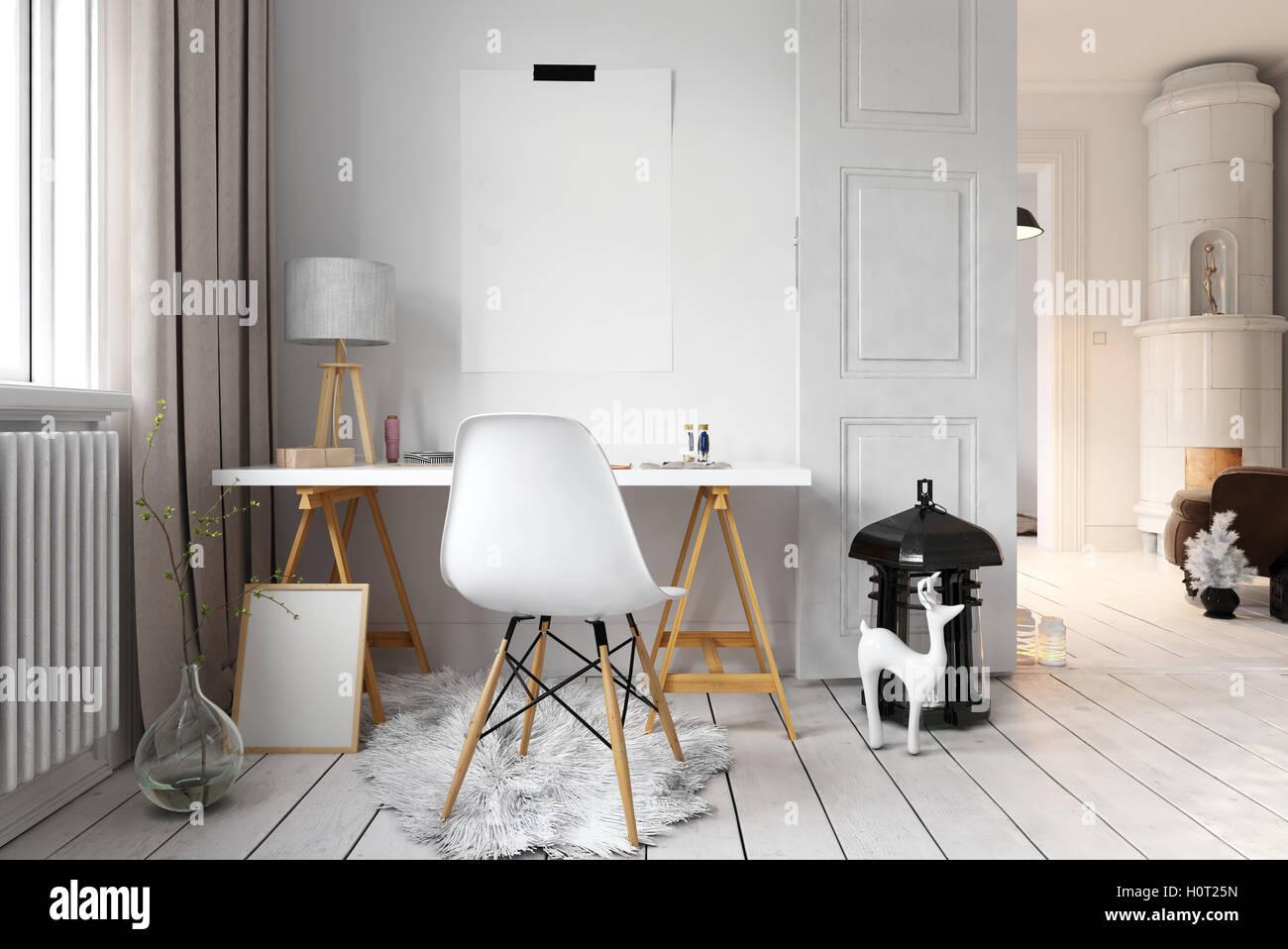 Appartement de rendu d bureau avec plancher de style scandinave