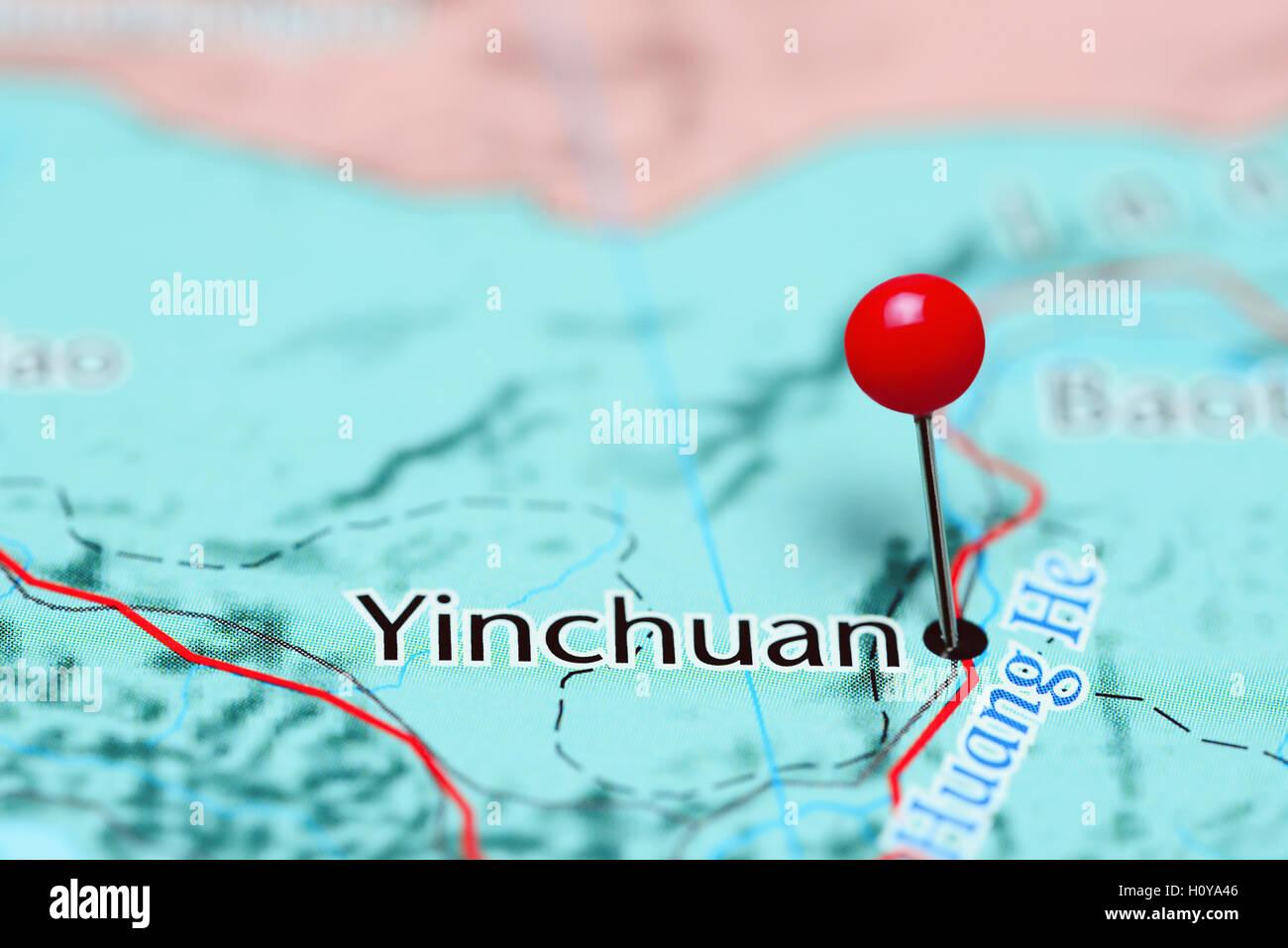 Yinchuan épinglée sur une carte de Chine Banque D'Images