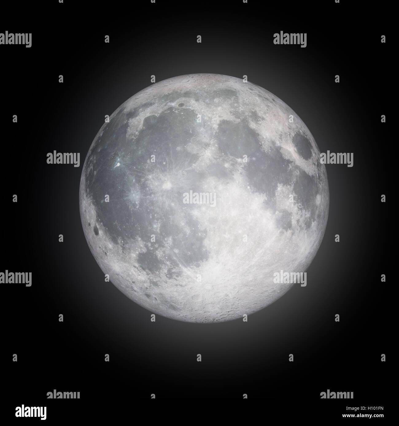 Pleine lune avec un halo isolé sur fond noir avec un chemin de détourage Photo Stock