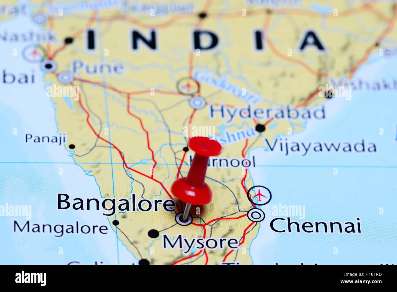 Carte De Linde Mysore.Bangalore Epinglee Sur Une Carte De L Inde Banque D Images Photo