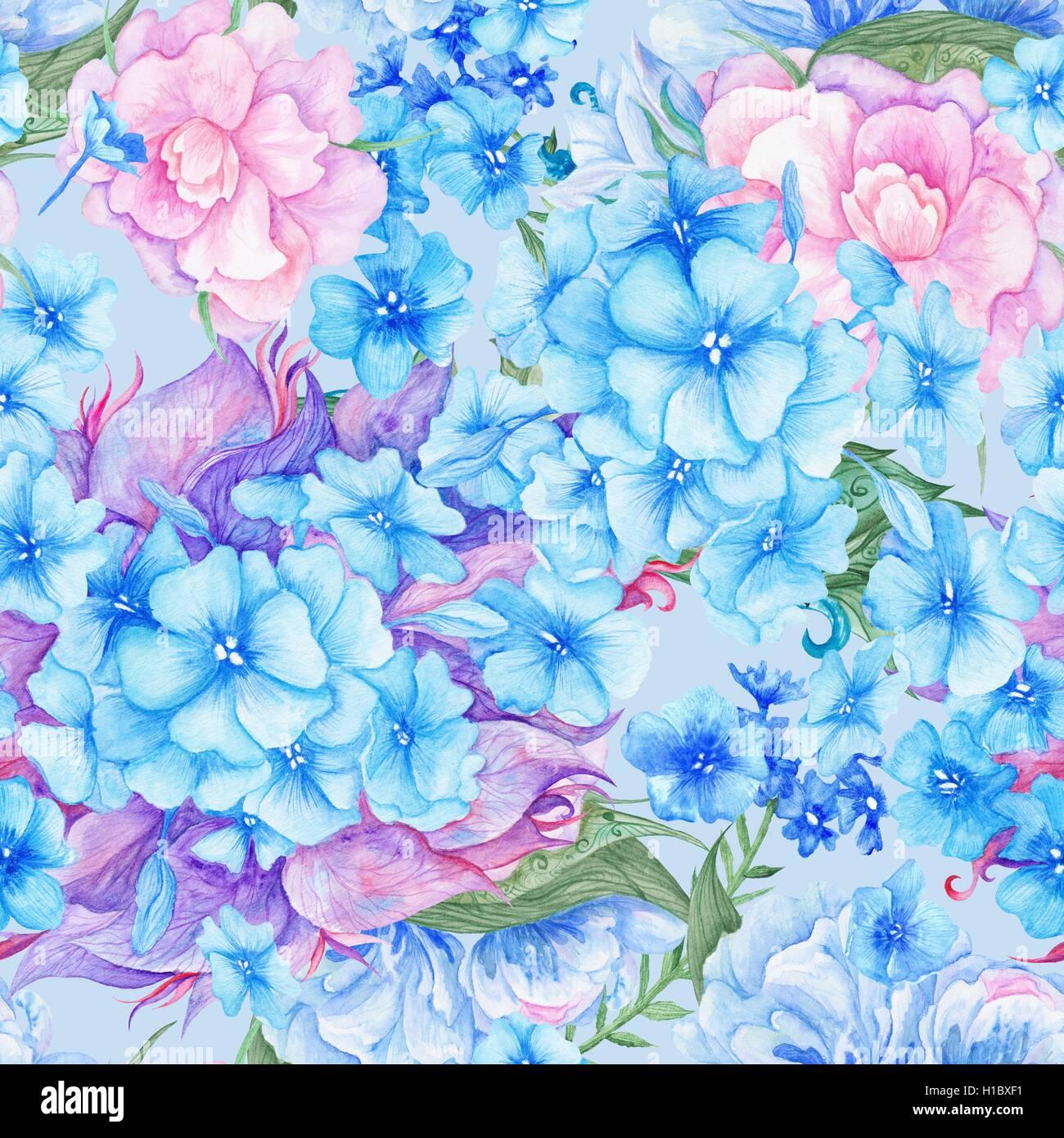 l 39 aquarelle transparente texture fleurs pour mariage papier peint design textile avec bleu et. Black Bedroom Furniture Sets. Home Design Ideas