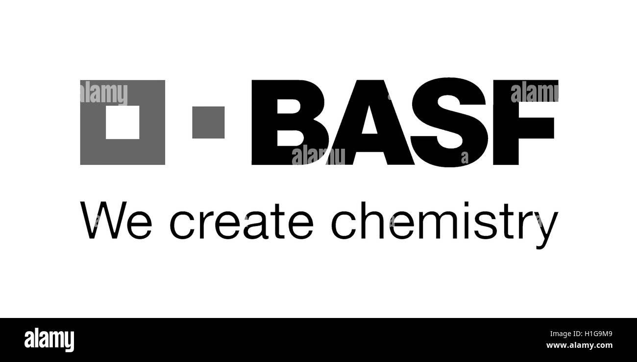 Logo de l'entreprise chimique allemande BASF avec siège à Ludwigshafen. Photo Stock