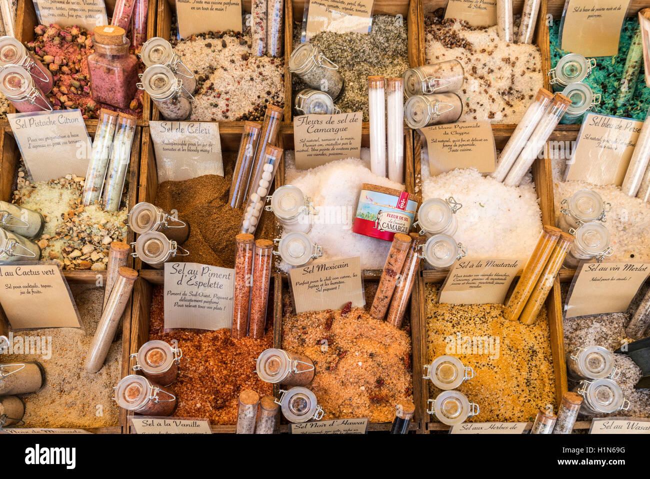 Le sel et les épices, échoppe de marché, le Vieux Nice, le Cours Saleya, Alpes Maritimes, Provence, Photo Stock