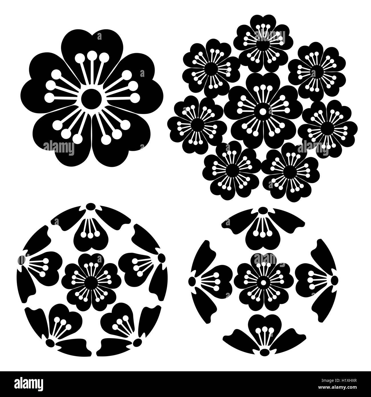 Le Sakura Fleur Stylisee Japonais Symbolisme Illustration Vecteurs