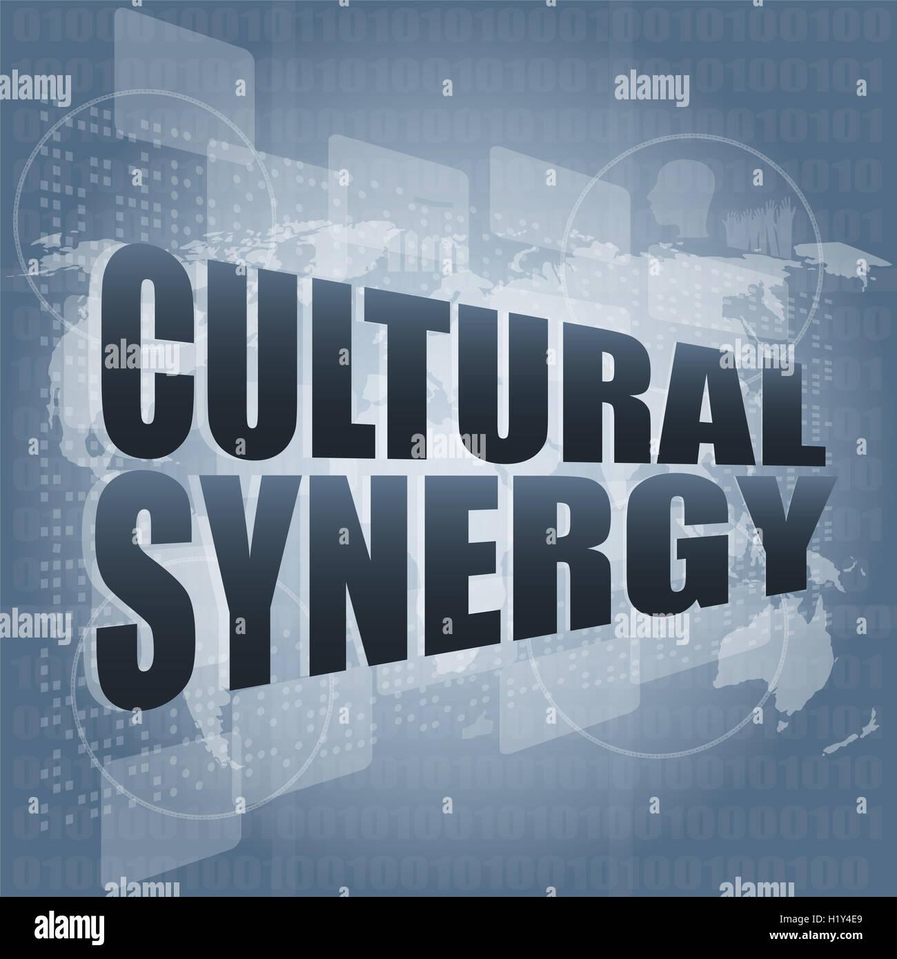 Synergie culturelle mots sur écran numérique avec carte du monde Photo Stock