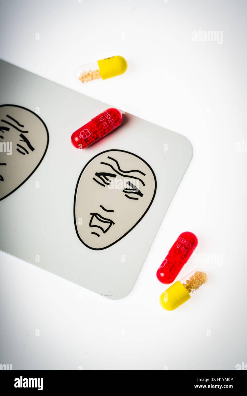 La médecine et l'échelle visuelle analogique de la douleur. Photo Stock