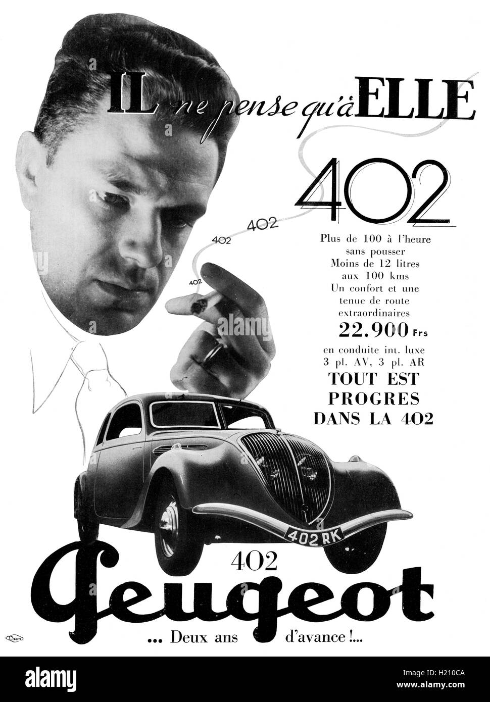La publicité automobile de Peugeot 402. Vogue Magazine, mars 1936. Édition française. Photo Stock