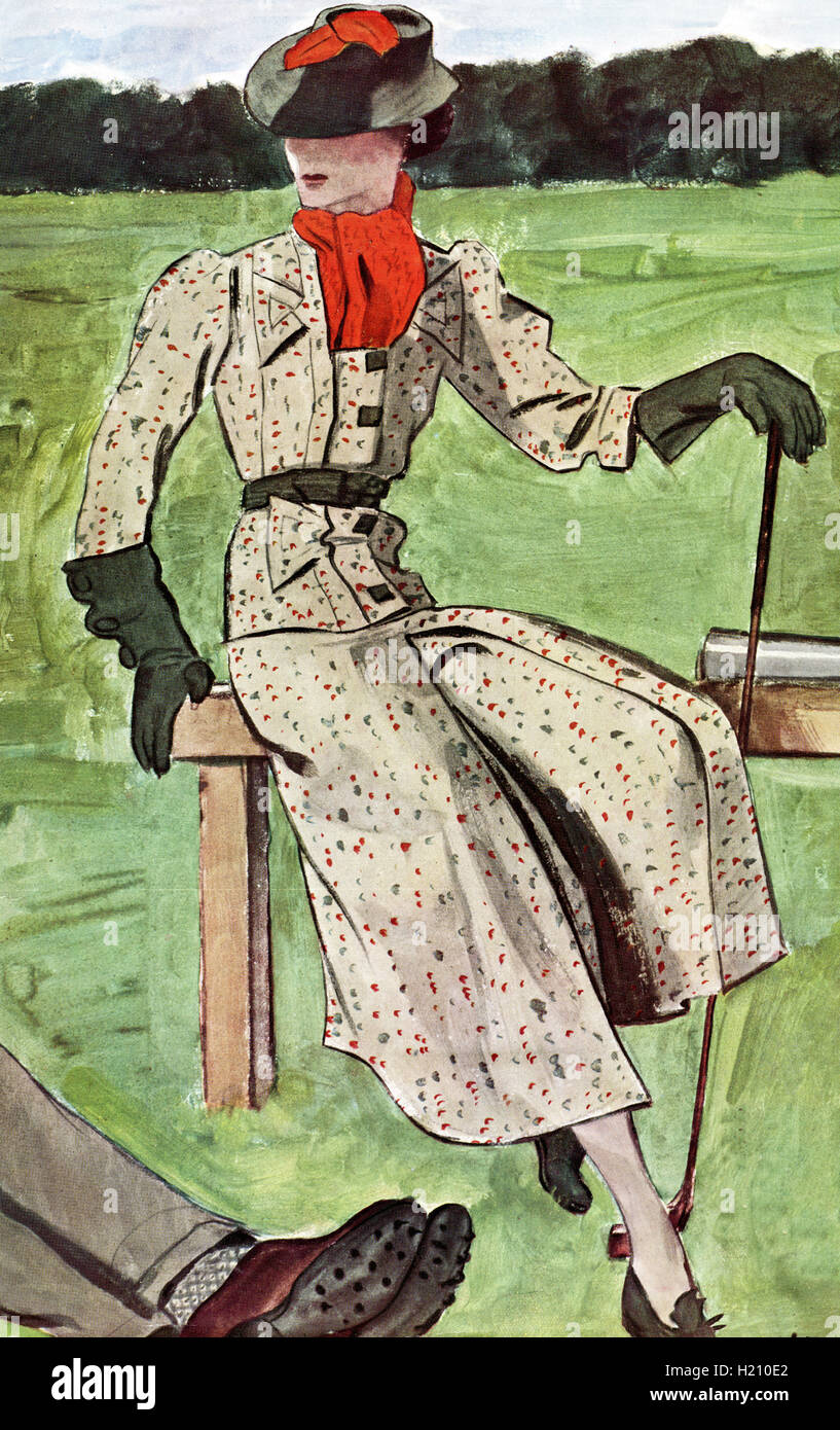 Fashion femme élégante. Illustration de Vogue Magazine, mars 1936. L'édition française. Photo Stock