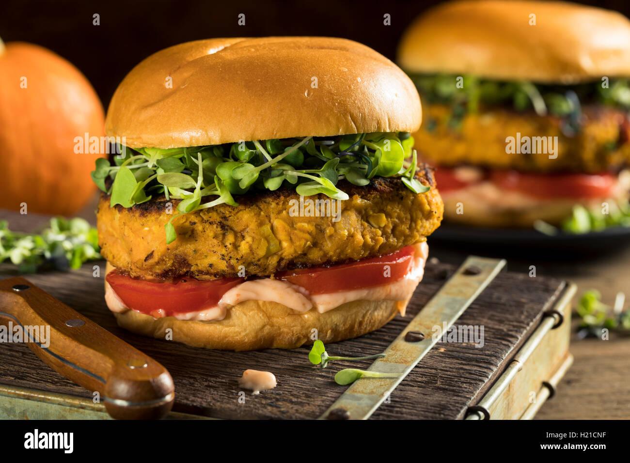 La citrouille fait maison et de haricots avec de la laitue et tomate Burger Photo Stock
