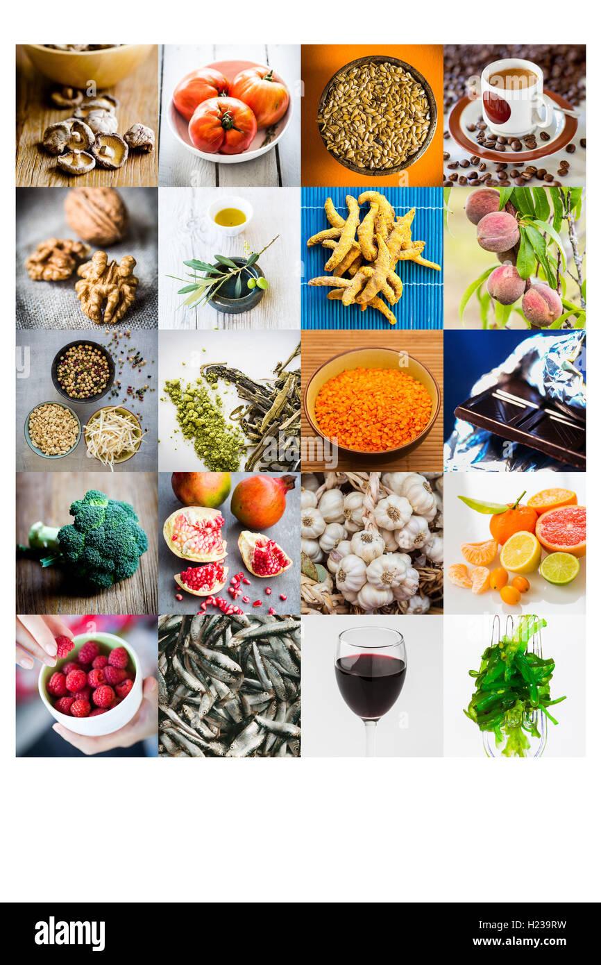 Assortiment d'aliments recommandés dans la prévention du cancer. Photo Stock
