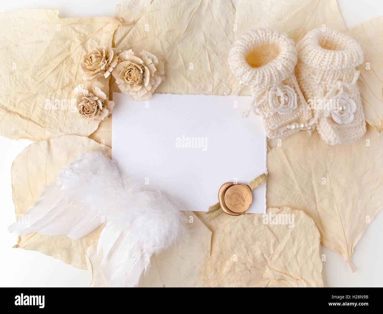 Nouvelle Naissance Ou Baptême Carte De Vœux Papier Blanc