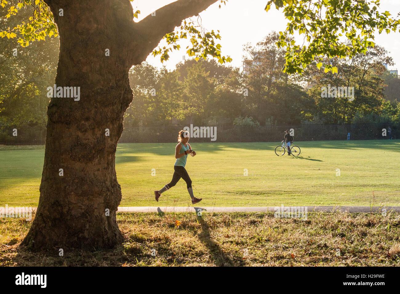 Un coureur s'exécute avec une fin d'après-midi dans un parc de Londres Photo Stock