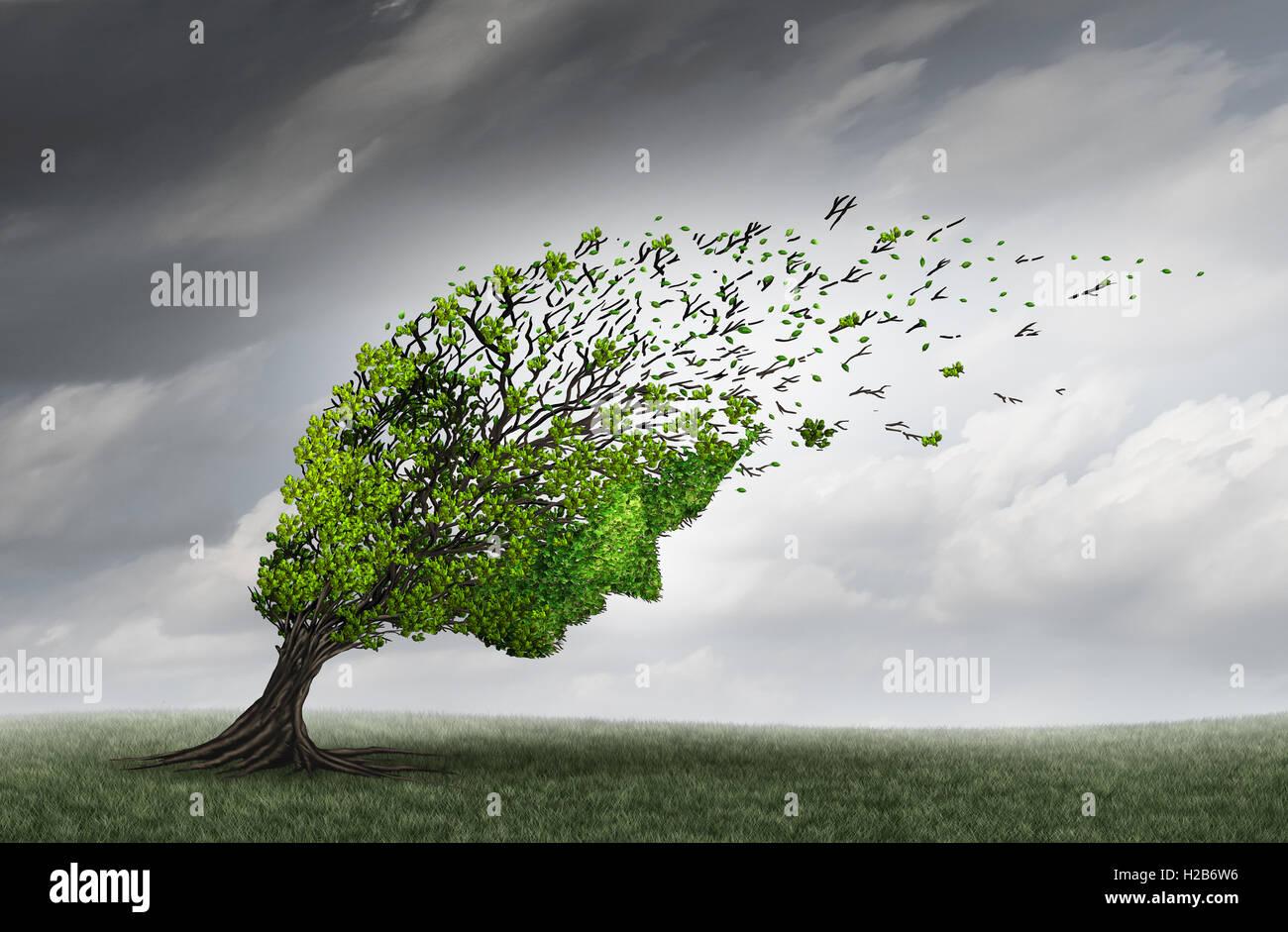 Des problèmes psychologiques et de santé mentale crise l'adversité qu'un arbre en forme d'une Photo Stock