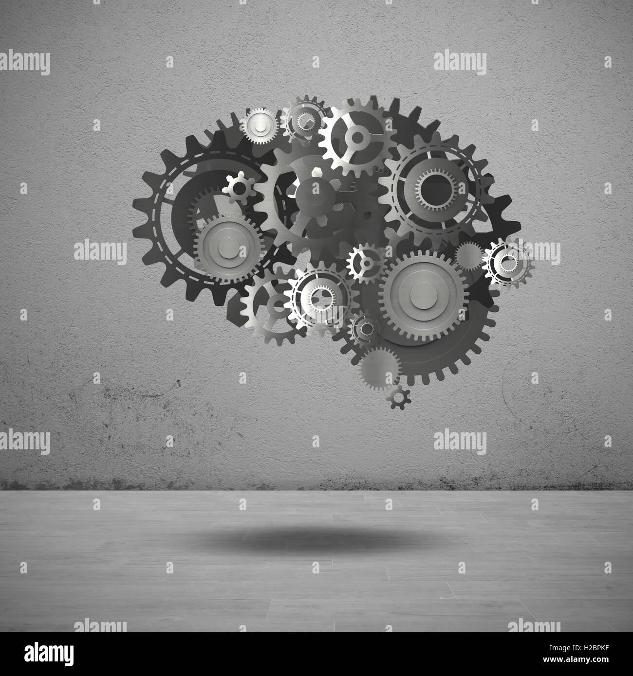 Mécanisme d'engrenages de rendu 3D du cerveau Photo Stock