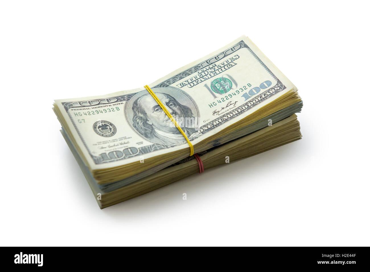 Heap dollar isolated on white Photo Stock