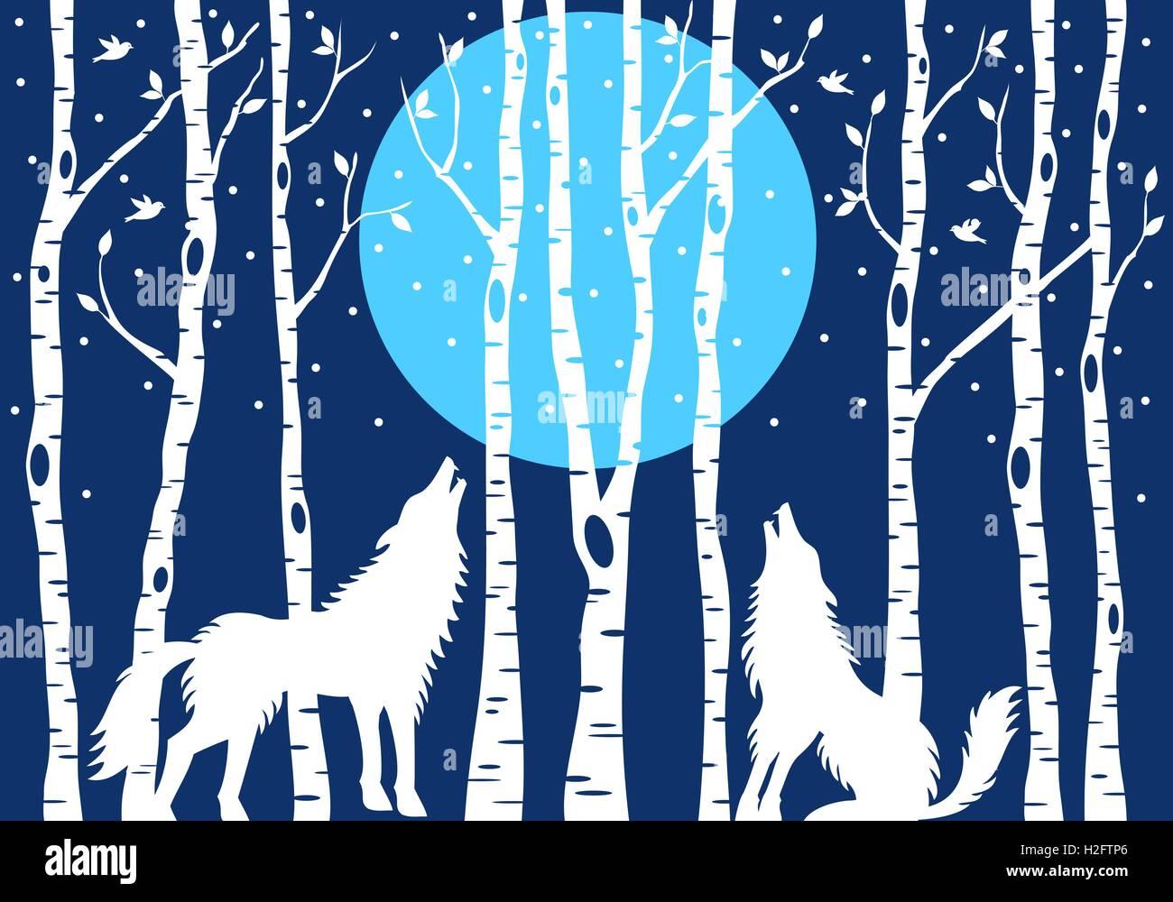Loup hurlant à la lune bleu et blanc des bouleaux, vector illustration Photo Stock