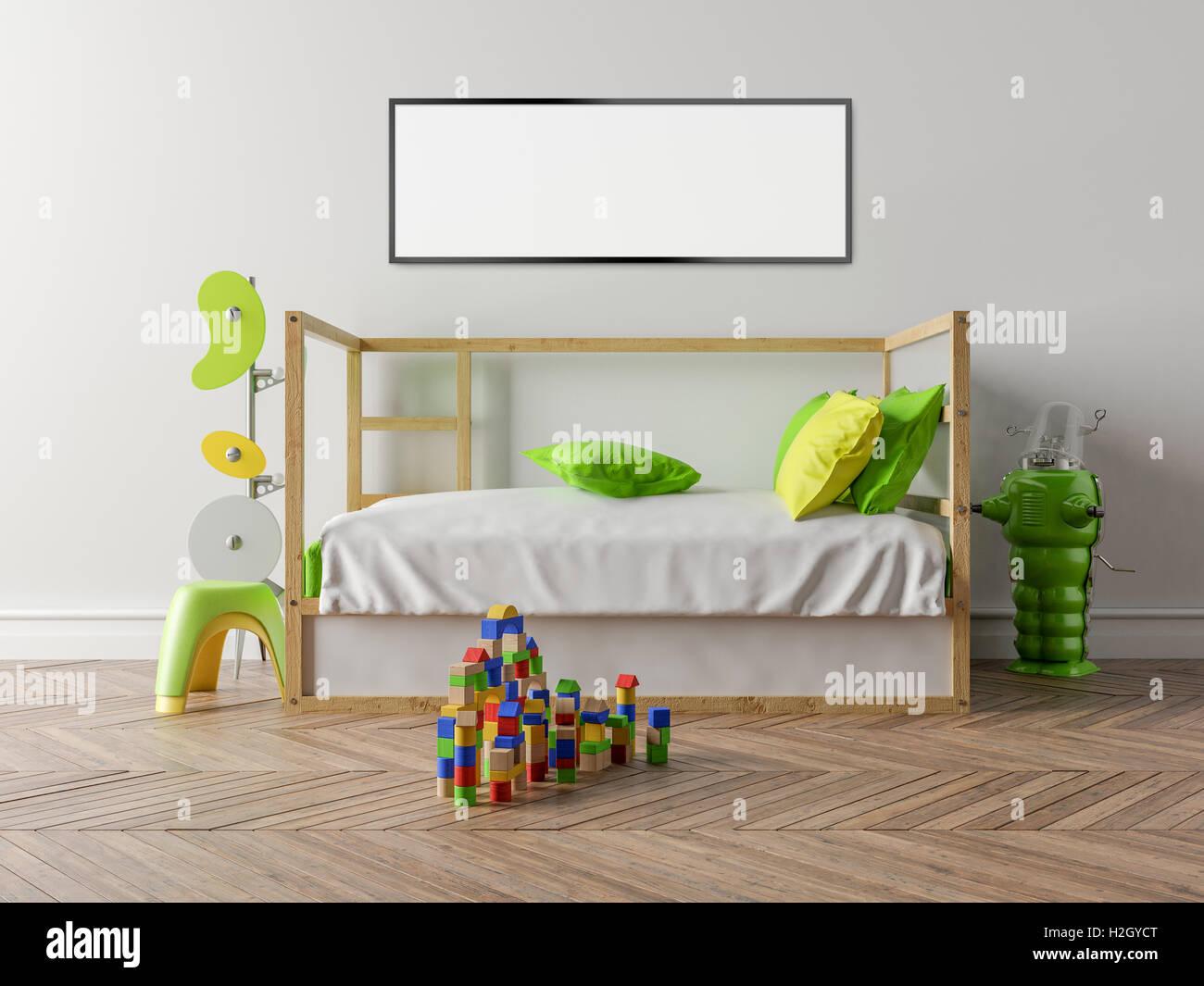 Sol Chambre D Enfant vide chambre d'enfants avec un lit bébé en bois et un mur