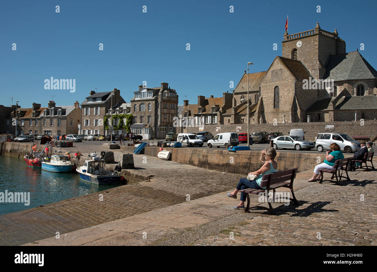La commune de Barfleur en Normandie au nord-ouest de la France. Banque D'Images