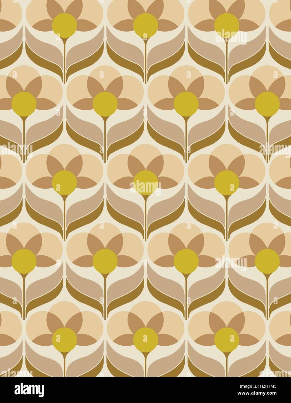 Papier peint à fleurs des années 60 Vecteurs Et Illustration