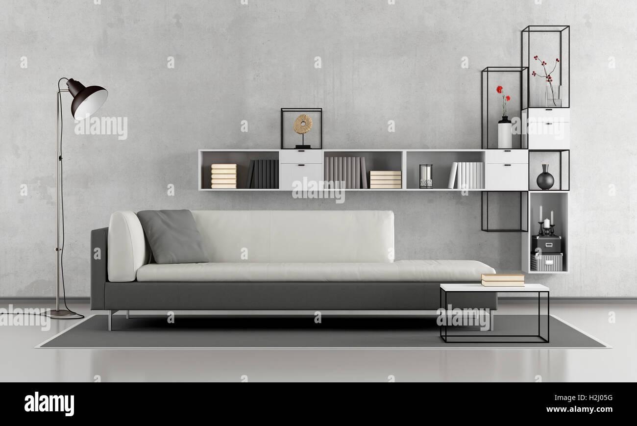 Minimaliste en noir et blanc salon avec canapé et bibliothèque ...