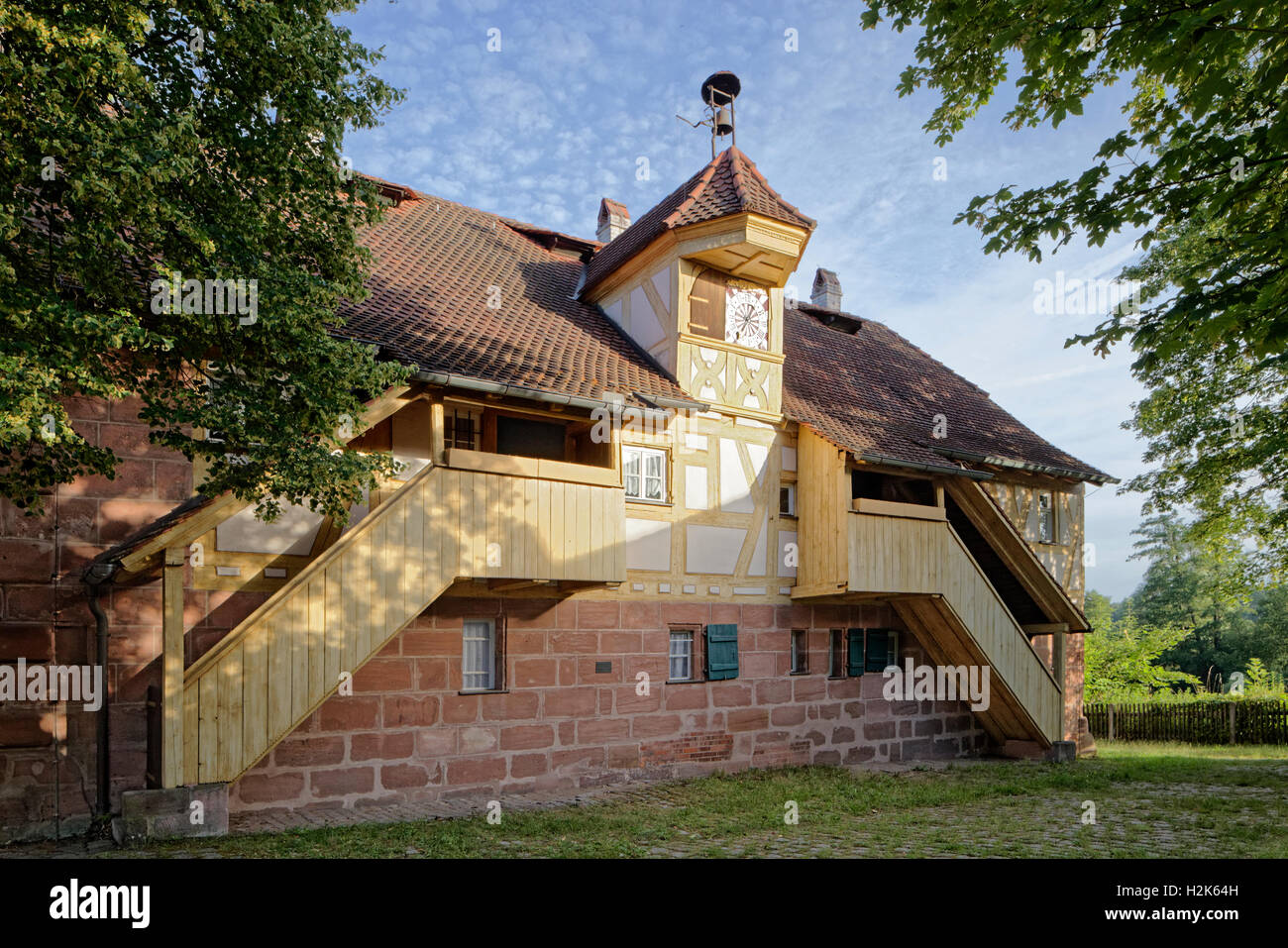 Watch House usine historique, Marteau, Laufamholz, Nuremberg, Middle Franconia, Franconia, Bavaria, Germany Photo Stock