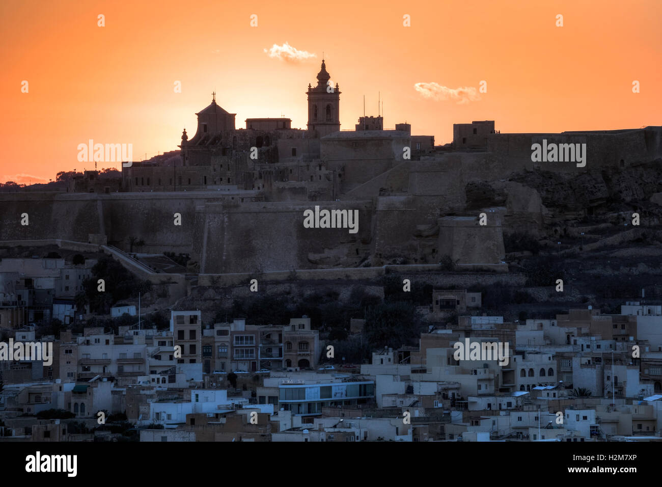 Cathédrale, coucher de soleil, Cittadella, Victoria, Gozo, Malte Photo Stock