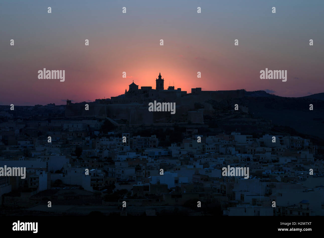 Cathédrale, coucher de soleil, Cittadella, Victoria, Gozo, Malte Banque D'Images