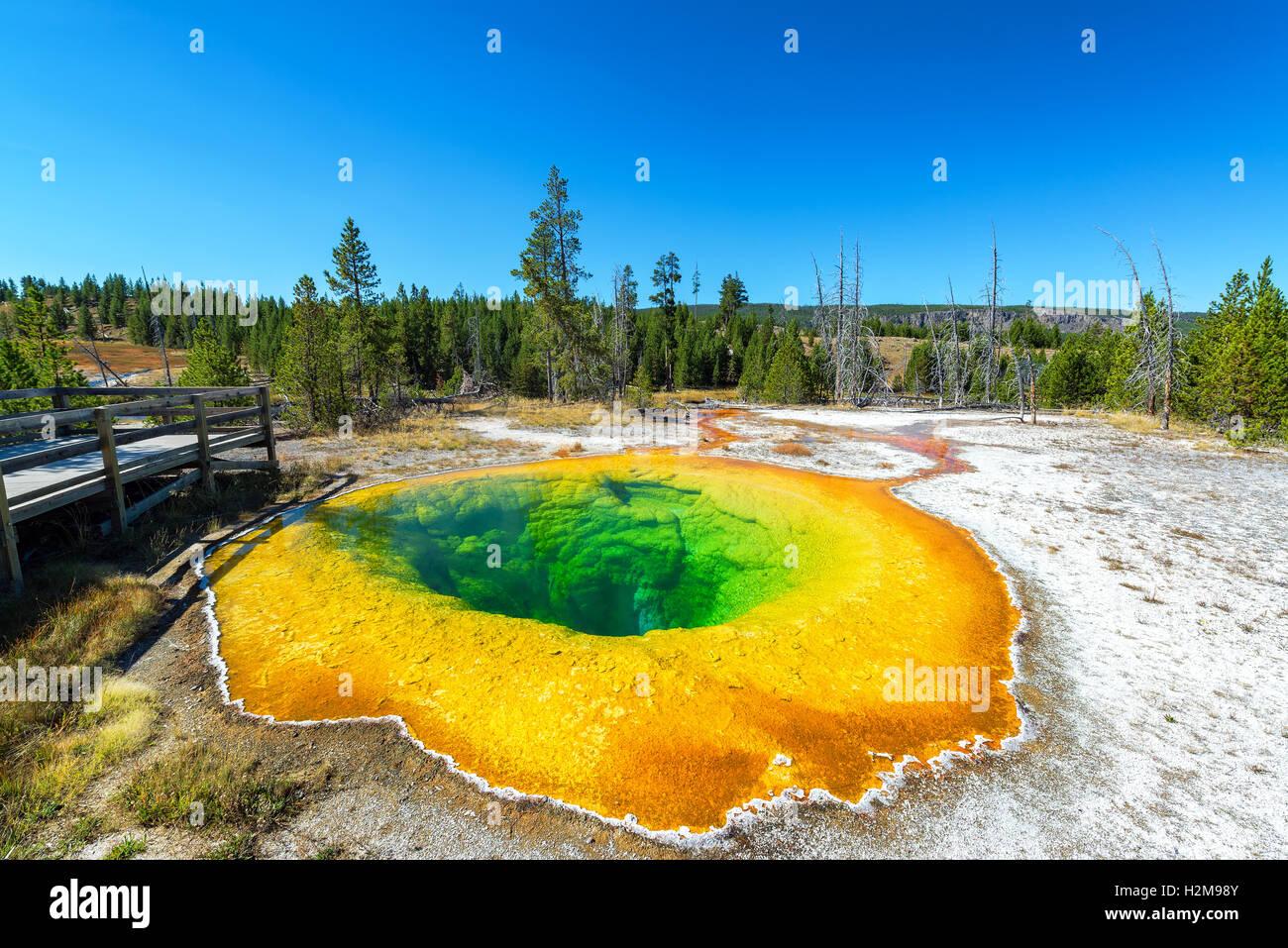 Vue grand angle de la gloire du matin dans la partie supérieure de la piscine Geyser Basin dans le Parc National Photo Stock