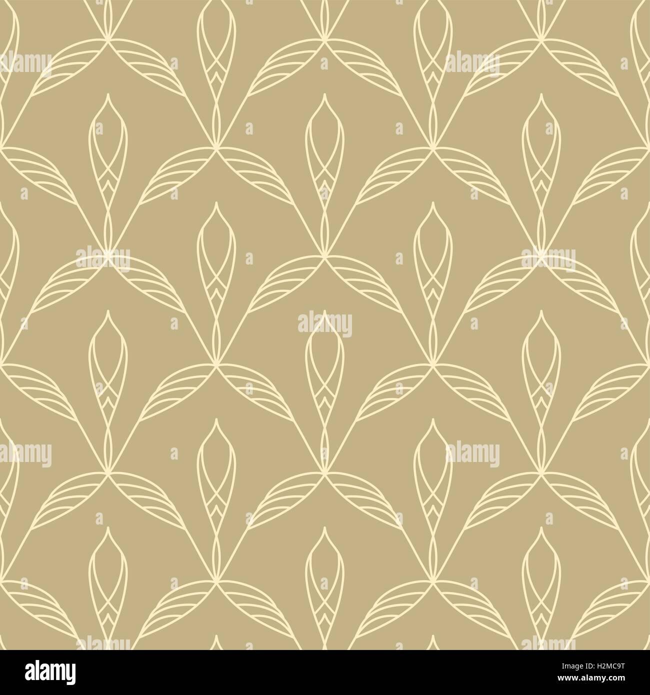Motif floral répétitif sans couture linéaire Photo Stock
