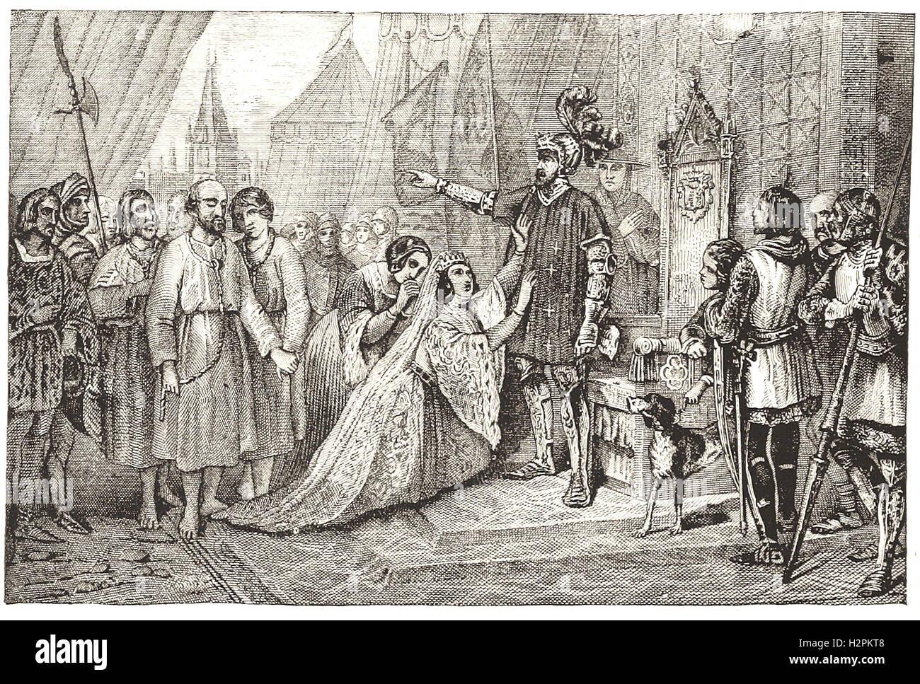 """Reine PHILIPPA INTERCÈDE POUR LES CITOYENS DE CALAIS - de 'Cassell's Illustrated Histoire universelle"""" Photo Stock"""