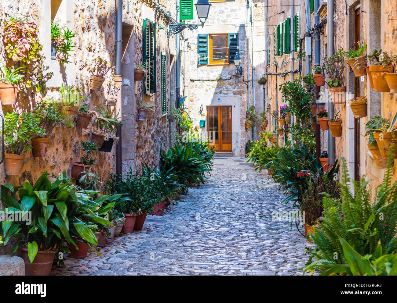 Rue de l'usine à Valldemossa, Majorque Banque D'Images