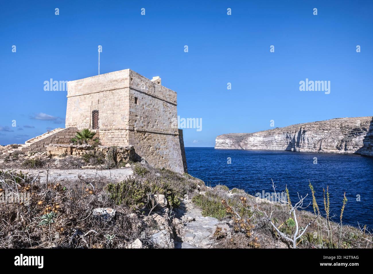 Baie de Xlendi, Xlendi Tower, Gozo, Malte Photo Stock