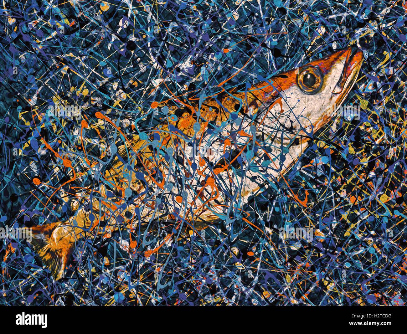 Jackson Pollock Pollock En Poisson Dans Un Dribble Peinture Hommage A La Fin De Jackson Pollock Photo Stock Alamy