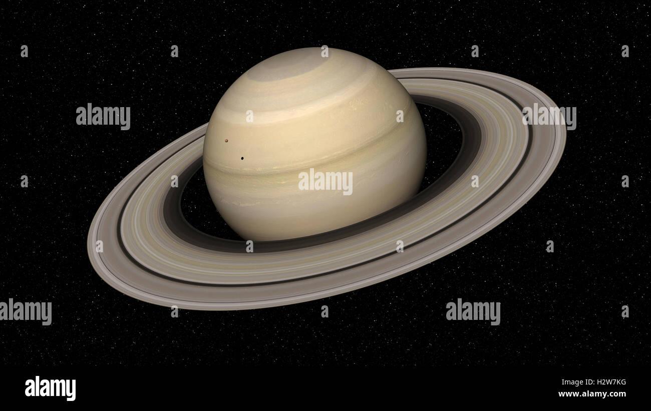 Le rendu 3D de la planète Saturne. Éléments de cette image fournie par la NASA Photo Stock