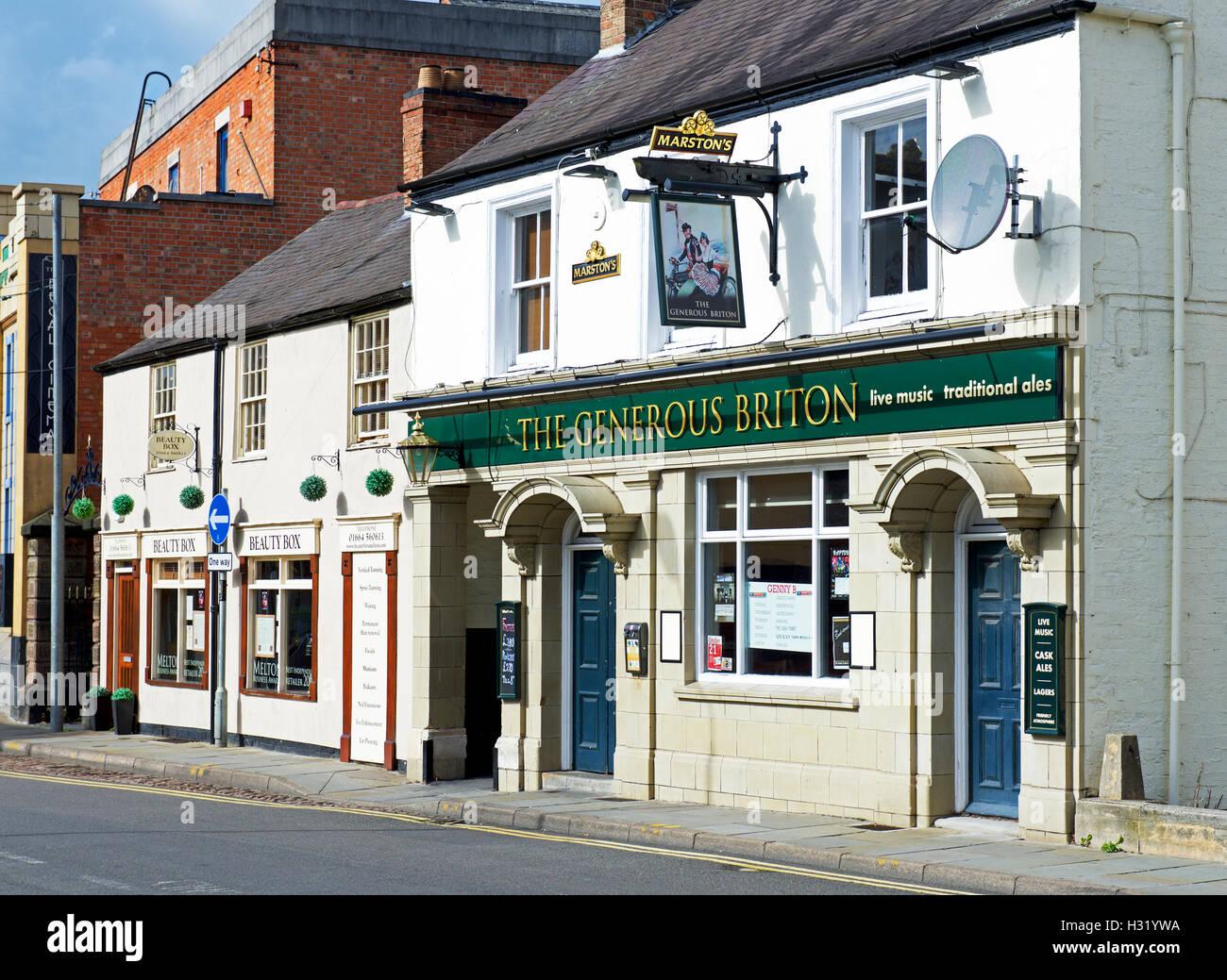 Le généreux Briton pub, Melton Mowbray, Leicestershire, Angleterre, Royaume-Uni Photo Stock