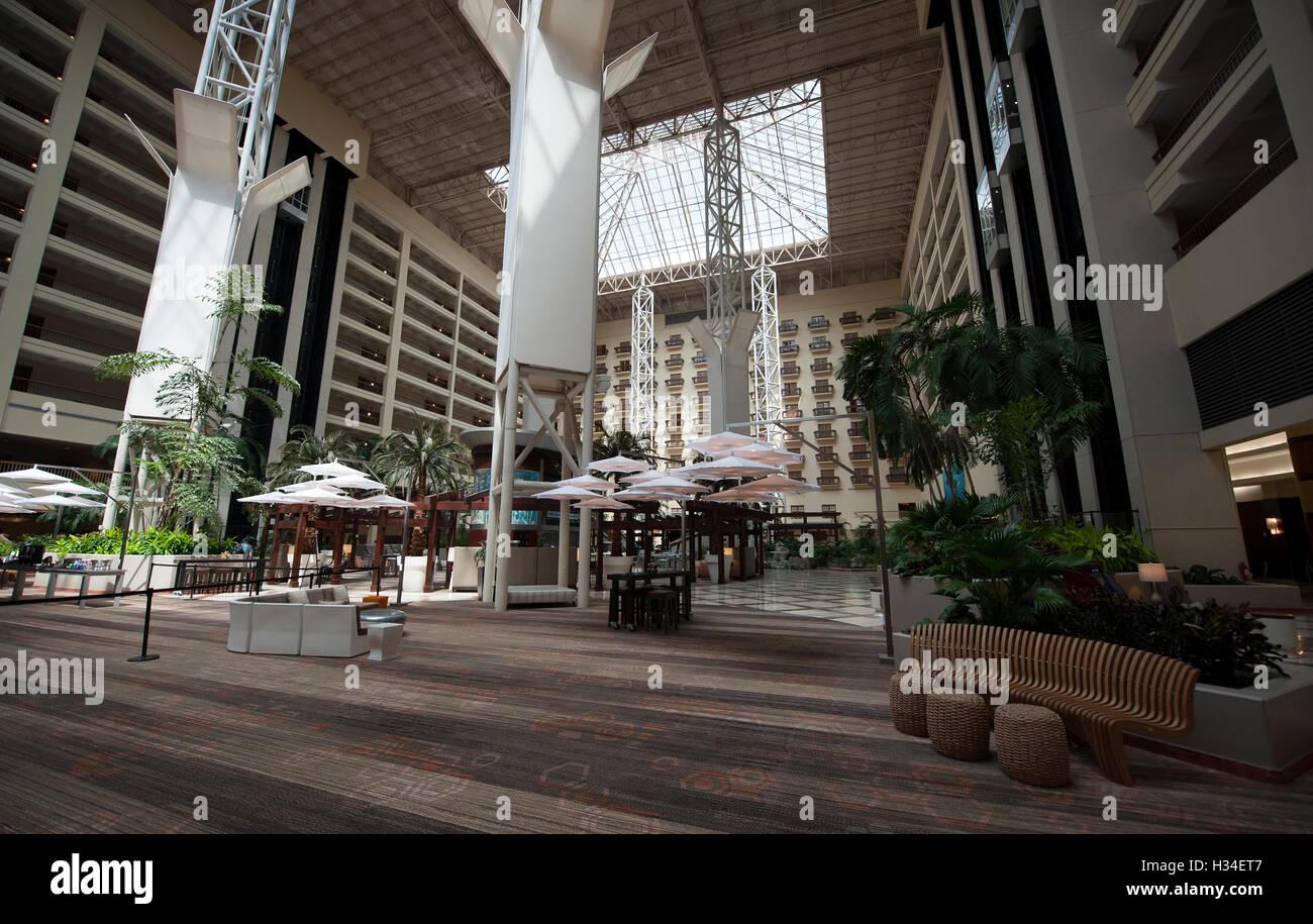 Vaste hall au Renaissance Orlando at Seaworld Orlando, Floride, USA Photo Stock