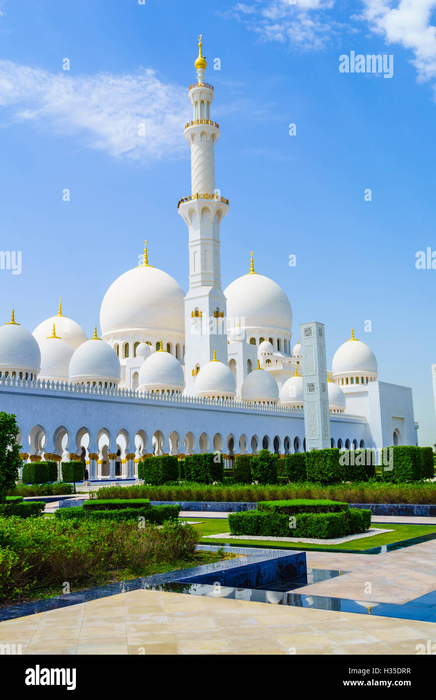La Mosquée Sheikh Zayed, Abu Dhabi, Émirats arabes unis, Moyen Orient Photo Stock