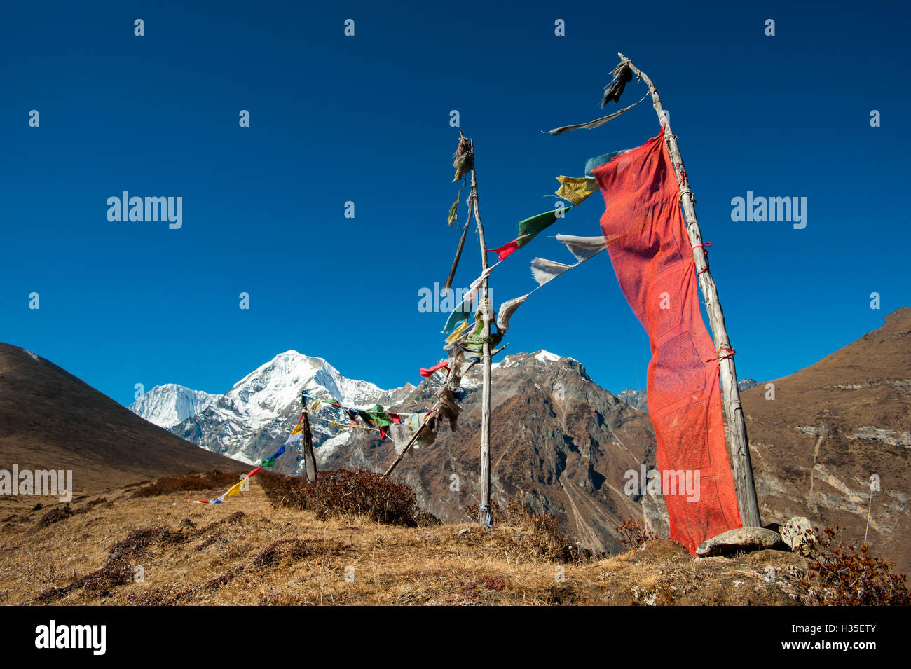 Drapeaux de prières sur la route de trekking, Lasa-Gasa District Thimpu, Bhoutan Photo Stock