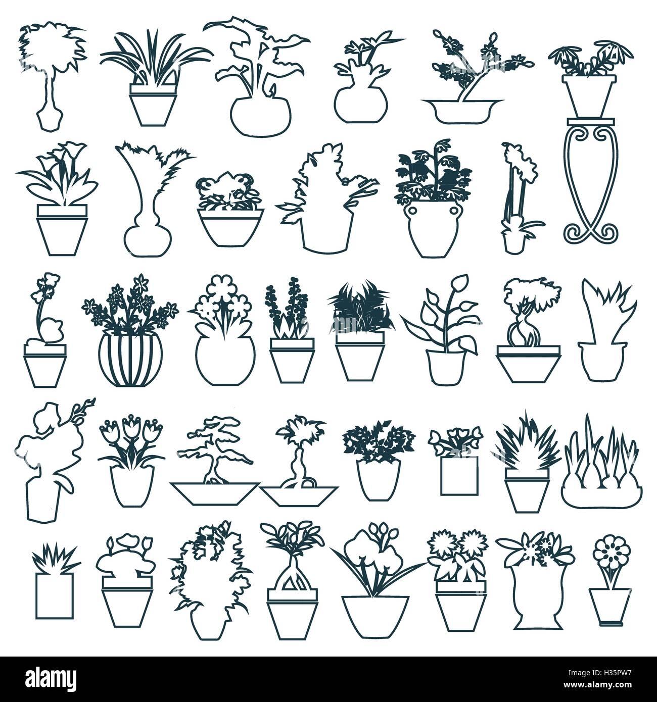 Jolie Maison De Plantes En Pots Dessin à La Main Vecteurs Et