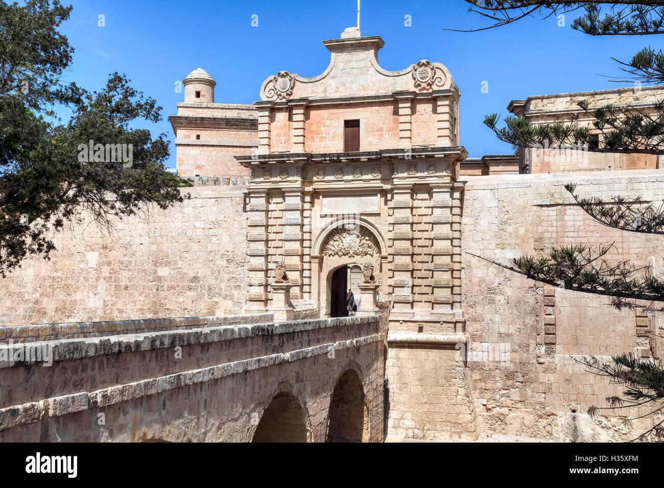 Porte de la ville de Mdina, Malte Photo Stock