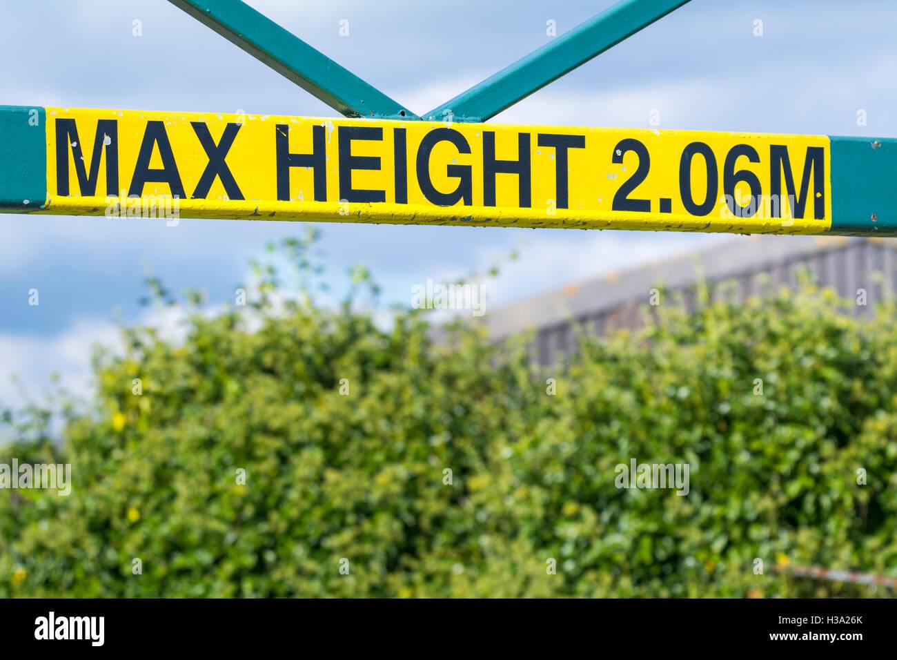 Hauteur Max 2.06M signe. Photo Stock