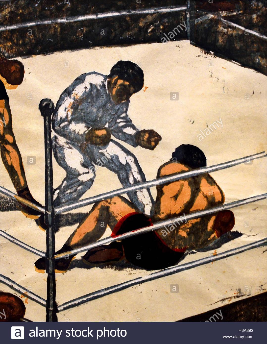 Knock Down ( Boxe - boxeur ) Koshiro Onchi Japon ( couleur xylographie sur papier ) Photo Stock