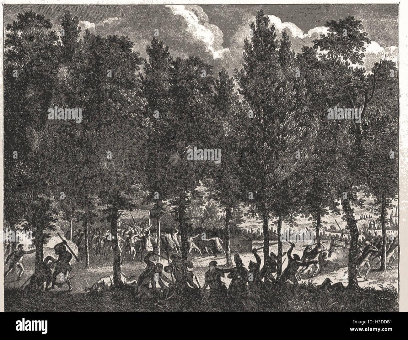 Conflit ENTRE LA GARDE NATIONALE ET LA MARSELLAISE. Août, 1792 Banque D'Images