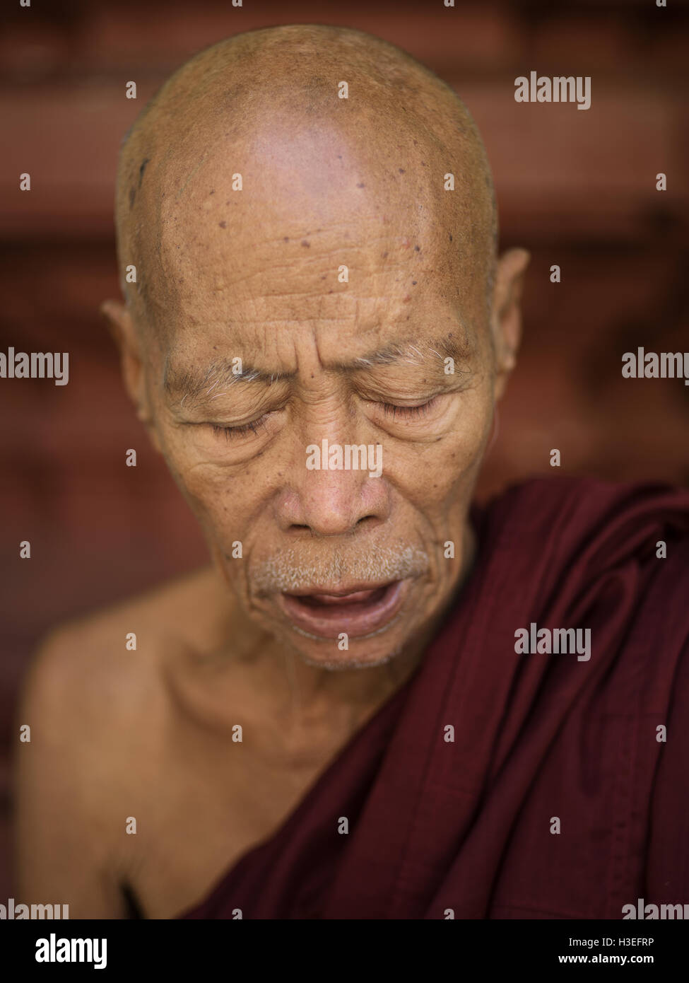 Un moine bouddhiste prie à Yangon, Myanmar (Birmanie) Photo Stock