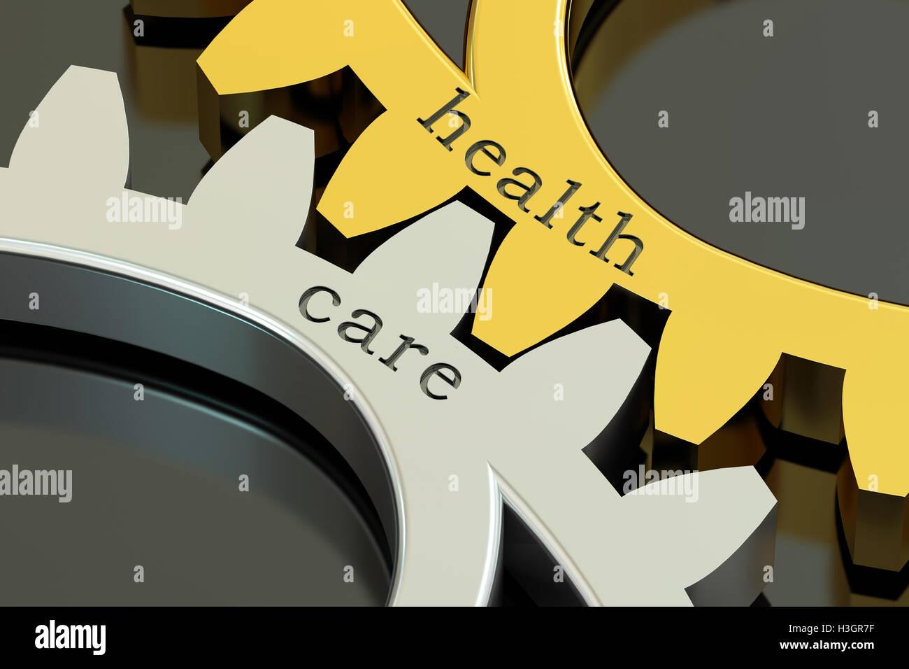 Le concept de soins de santé, sur les roues dentées, 3D Rendering Photo Stock