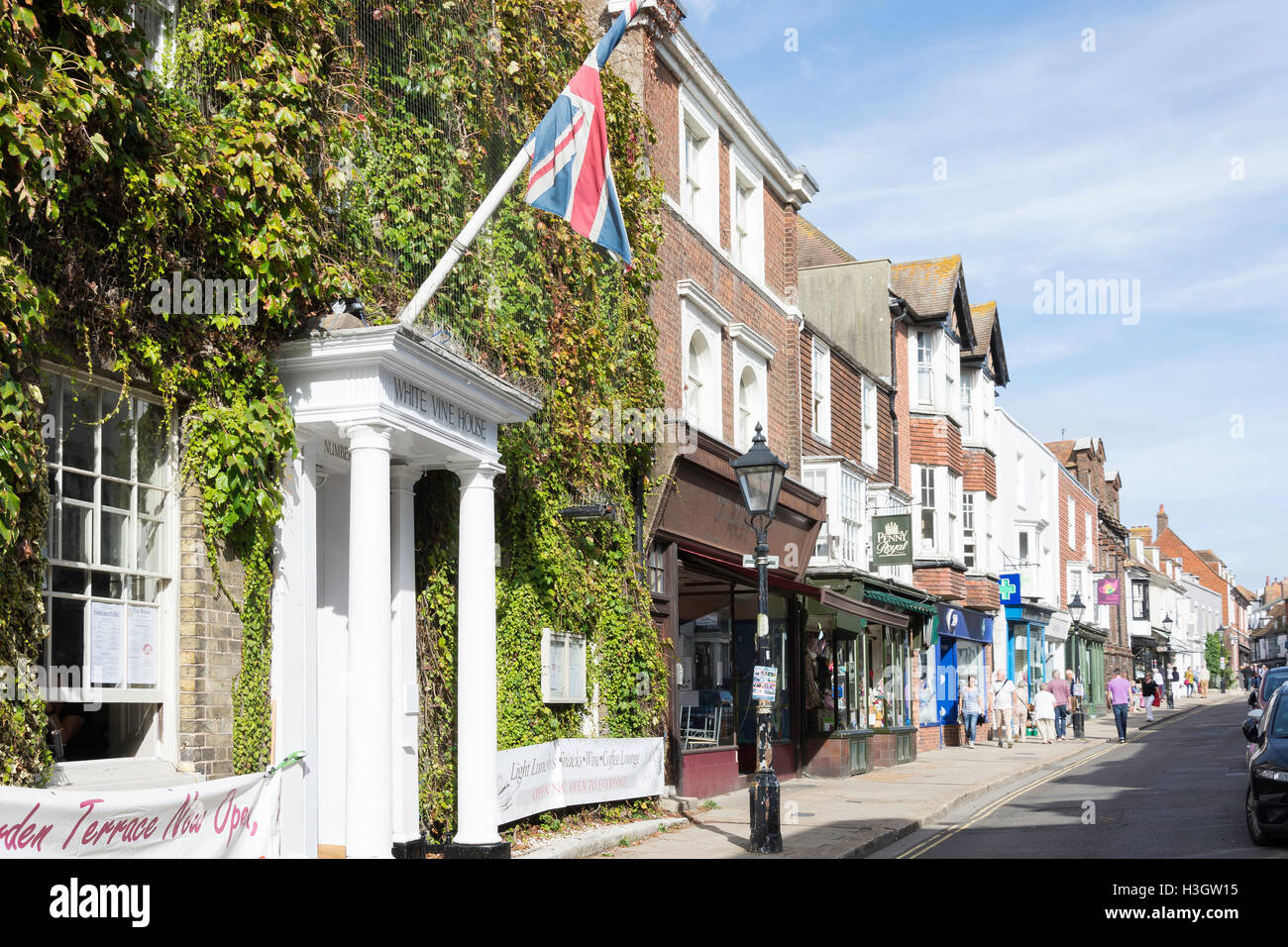 High Street, Rye, East Sussex, Angleterre, Royaume-Uni Photo Stock