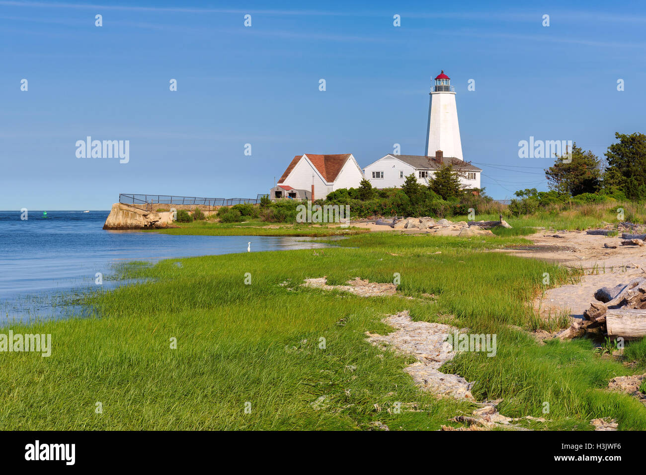 Le phare de Lynde, Old Saybrook, Connecticut, USA Photo Stock